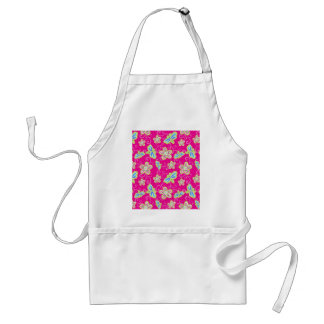 Cute flowers, dragonflies and swirls on pink standard apron