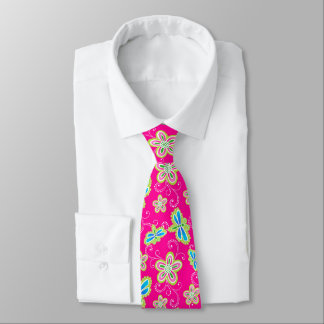 Cute flowers, dragonflies and swirls on pink tie