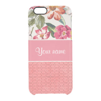Cute Flowers Faux Pink Glitter Circles Clear iPhone 6/6S Case