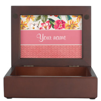 Cute Flowers Faux Pink Glitter Circles Memory Box