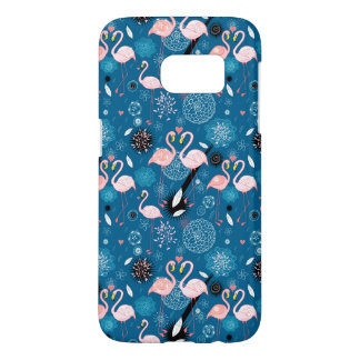 Cute flowers flamingos pattern