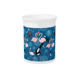 Cute flowers flamingos pattern pitcher