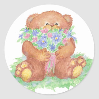Cute Flowers for You Teddy Bear Round Sticker