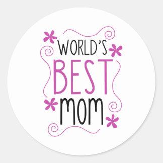Cute Flowery World's Best Mom Round Sticker