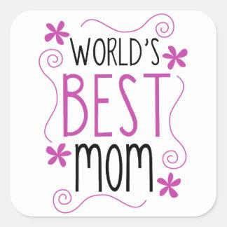 Cute Flowery World's Best Mom Square Sticker