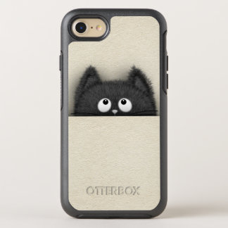Cute Fluffy Black cat peaking out OtterBox Symmetry iPhone 8/7 Case