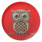 Cute Fluffy Brown Owl with Reading Glasses, Red Plate