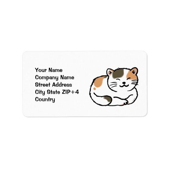 cute fluffy calico orange and black cat label