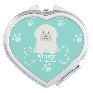 Cute Fluffy Curly Coat Poodle Puppy Dog Monogram Compact Mirrors