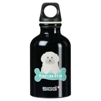 Cute Fluffy Curly Coat Poodle Puppy Dog Monogram Water Bottle