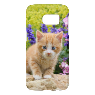 Cute Fluffy Ginger Baby Cat Kitten in Flowers -
