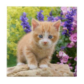 Cute Fluffy Ginger Cat Kitten in Flowers Pet Photo Tile
