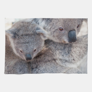 Cute Fluffy Grey Koalas Tea Towel