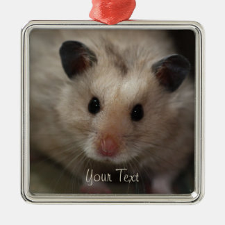 Cute Fluffy Hamster Metal Ornament