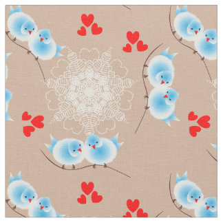 Cute Fluffy Love Birds And Sweet Red Love Hearts Fabric
