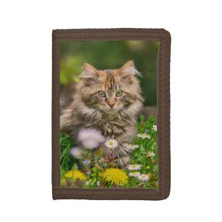 Cute Fluffy Maine Coon Kitten Cat in Flowers Photo Tri-fold Wallet