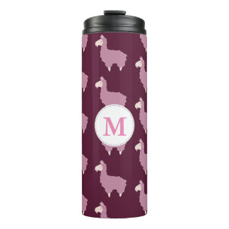 Cute Fluffy Pink Llamas with Initial Thermal Tumbler