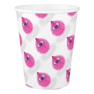 Cute Fluffy Pink Monster Paper Cup