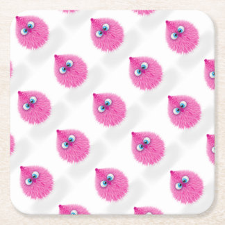 Cute Fluffy Pink Monster Square Paper Coaster