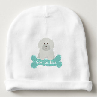 Cute Fluffy Poodle Puppy Dog Unisex Aqua Monogram Baby Beanie