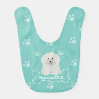 Cute Fluffy Poodle Puppy Dog Unisex Aqua Monogram Bib