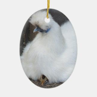 Cute Fluffy White Chicken and Chick ornament