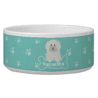 Cute Fluffy White Poodle Puppy Dog Aqua Monogram
