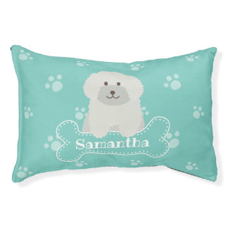 Cute Fluffy White Poodle Puppy Dog Aqua Monogram Pet Bed
