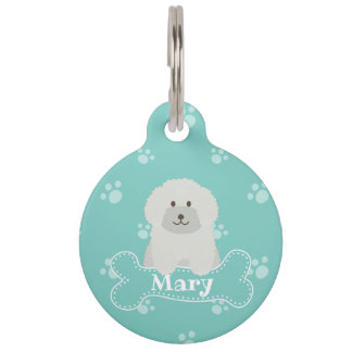 Cute Fluffy White Poodle Puppy Dog Aqua Monogram Pet ID Tag