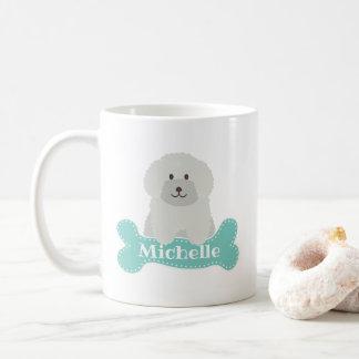 Cute Fluffy White Poodle Puppy Dog Lover Monogram Coffee Mug