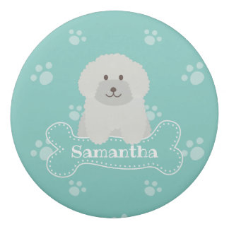 Cute Fluffy White Poodle Puppy Dog Lover Monogram Eraser