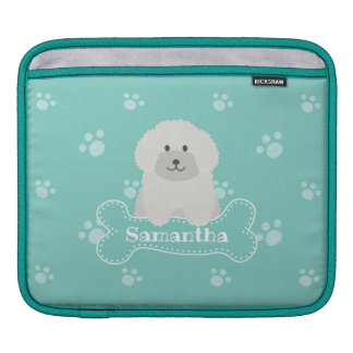 Cute Fluffy White Poodle Puppy Dog Lover Monogram iPad Sleeve