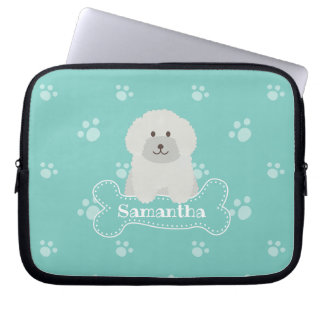 Cute Fluffy White Poodle Puppy Dog Lover Monogram Laptop Sleeve
