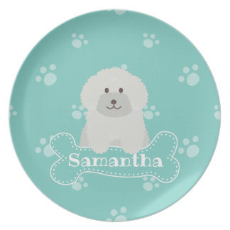 Cute Fluffy White Poodle Puppy Dog Lover Monogram Plate