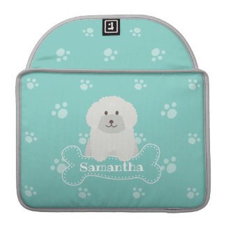 Cute Fluffy White Poodle Puppy Dog Lover Monogram Sleeve For MacBook Pro