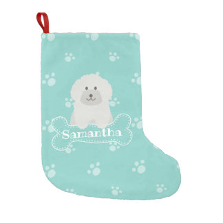 Cute Fluffy White Poodle Puppy Dog Lover Monogram Small Christmas Stocking
