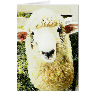 Cute Fluffy White Sheep Greeting Card