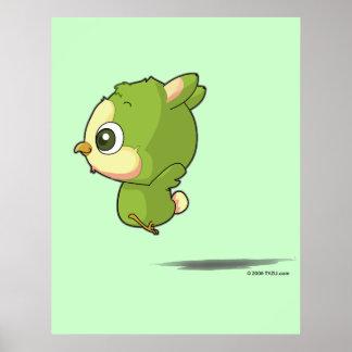 Cute flying bird funny cartoon character poster