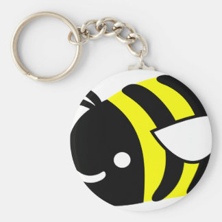Cute flying bumblebee basic round button key ring