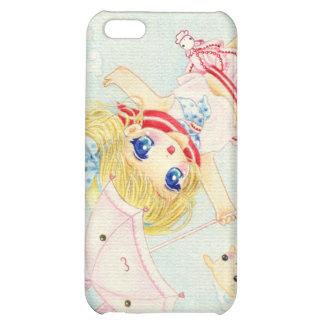 Cute flying chibi with kawaii bunny umbrella iPhone 5C cases