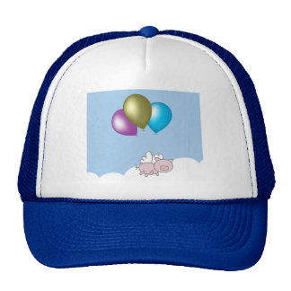 Cute Flying Pig and Balloons Art Cap