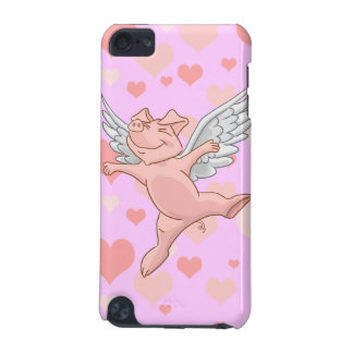 Cute Flying Pig and Pink Hearts iPod Touch 5G Cases