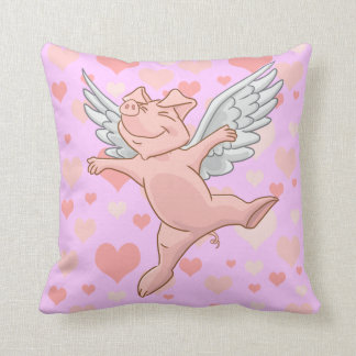 Cute Flying Pig and Pink Hearts Cushion