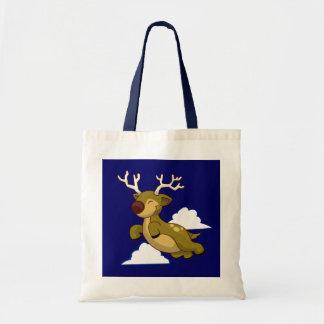 Cute Flying Reindeer Canvas Bags