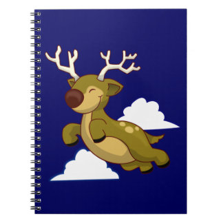 Cute Flying Reindeer Spiral Note Books