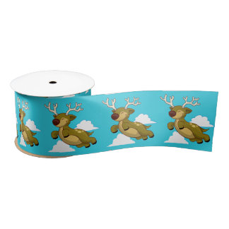 Cute Flying Reindeer with White Clouds Satin Ribbon
