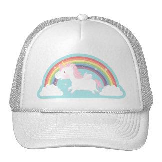 Cute Flying Unicorn and Rainbow Girls Hat