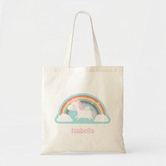 Cute Flying Unicorn and Rainbow Girls Tote Bag