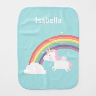 Cute Flying Unicorn Rainbow For Baby Girl Burp Cloth