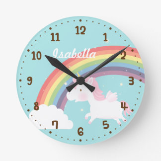 Cute Flying Unicorn Rainbow Girls Room Decor Clock